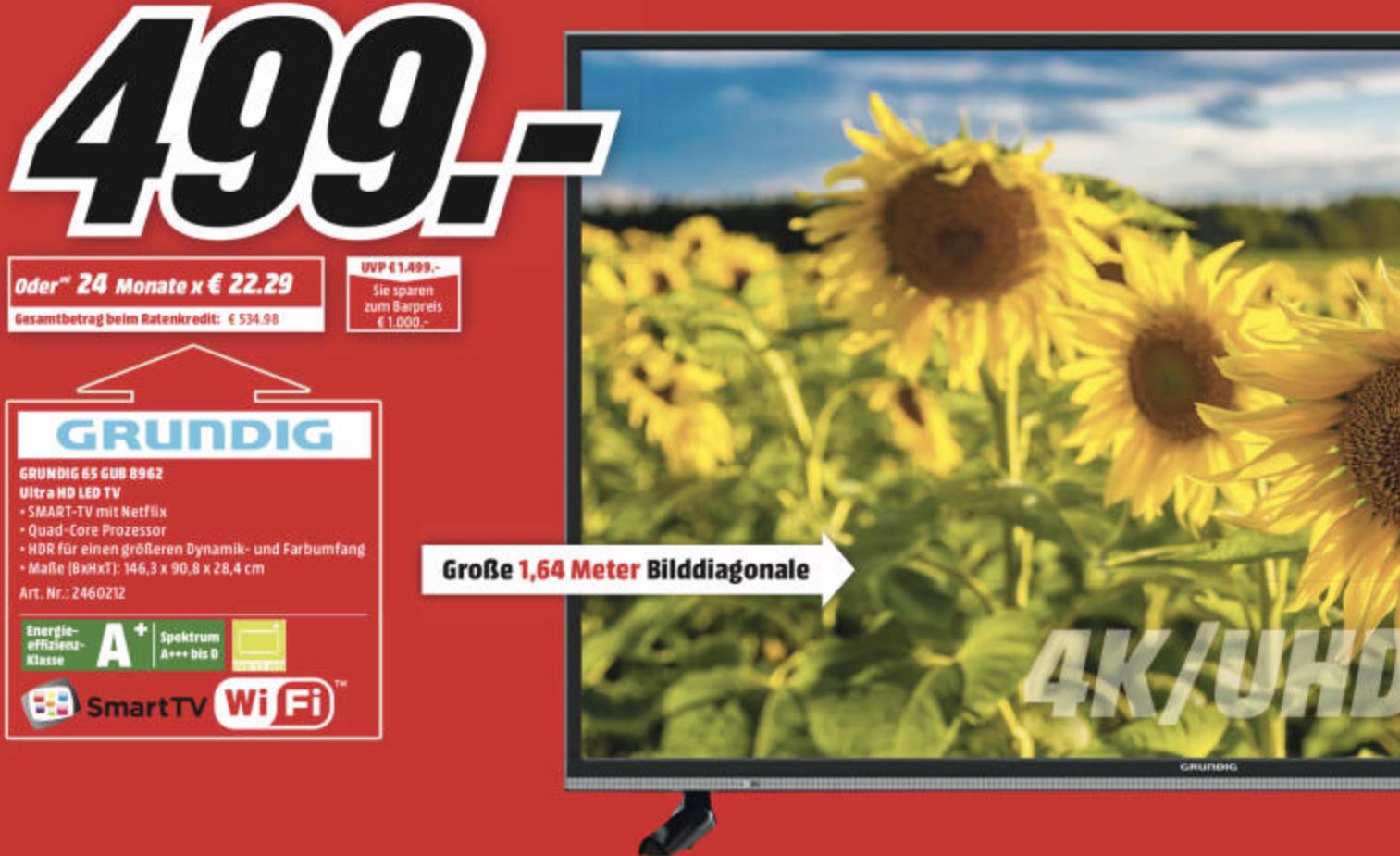 Lokal MediaMarkt Hamburg: GRUNDIG 65GUB8962 LED TV 65 Zoll 164cm 4K UHD SMART TV für 499€