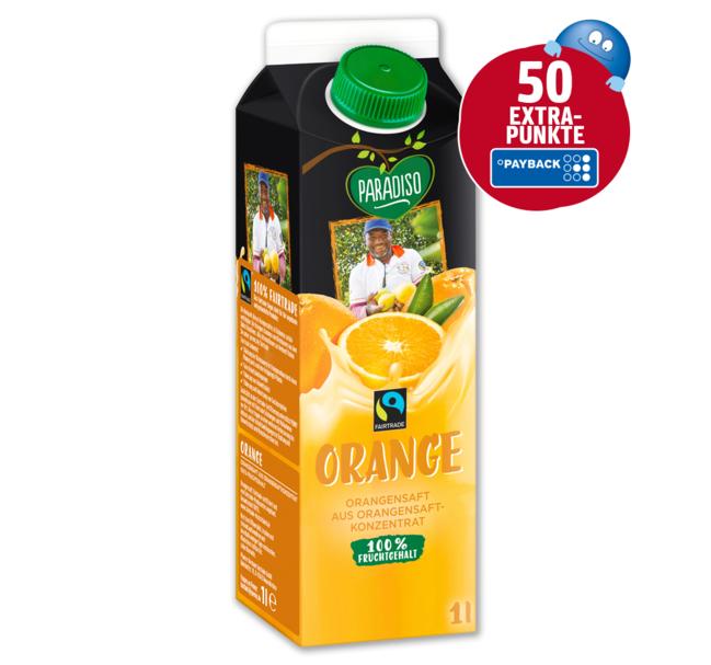 Paradiso Fairtrade Orangensaft 1,0l, für 1,29€ (+50 Payback Punkte = 0,50€ Cashback = effektiv 0,79€/Liter) bei PENNY