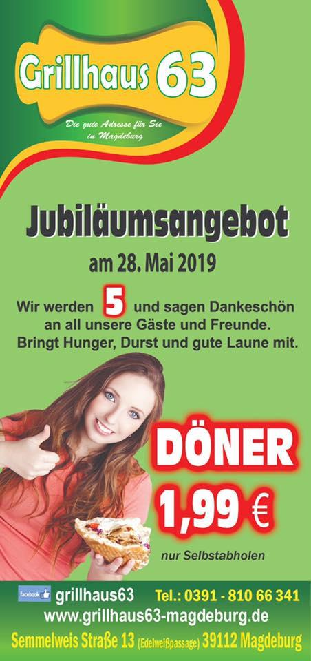 [Lokal Magdeburg] Döner für 1,99€ am 28.05 im Grillhaus 63