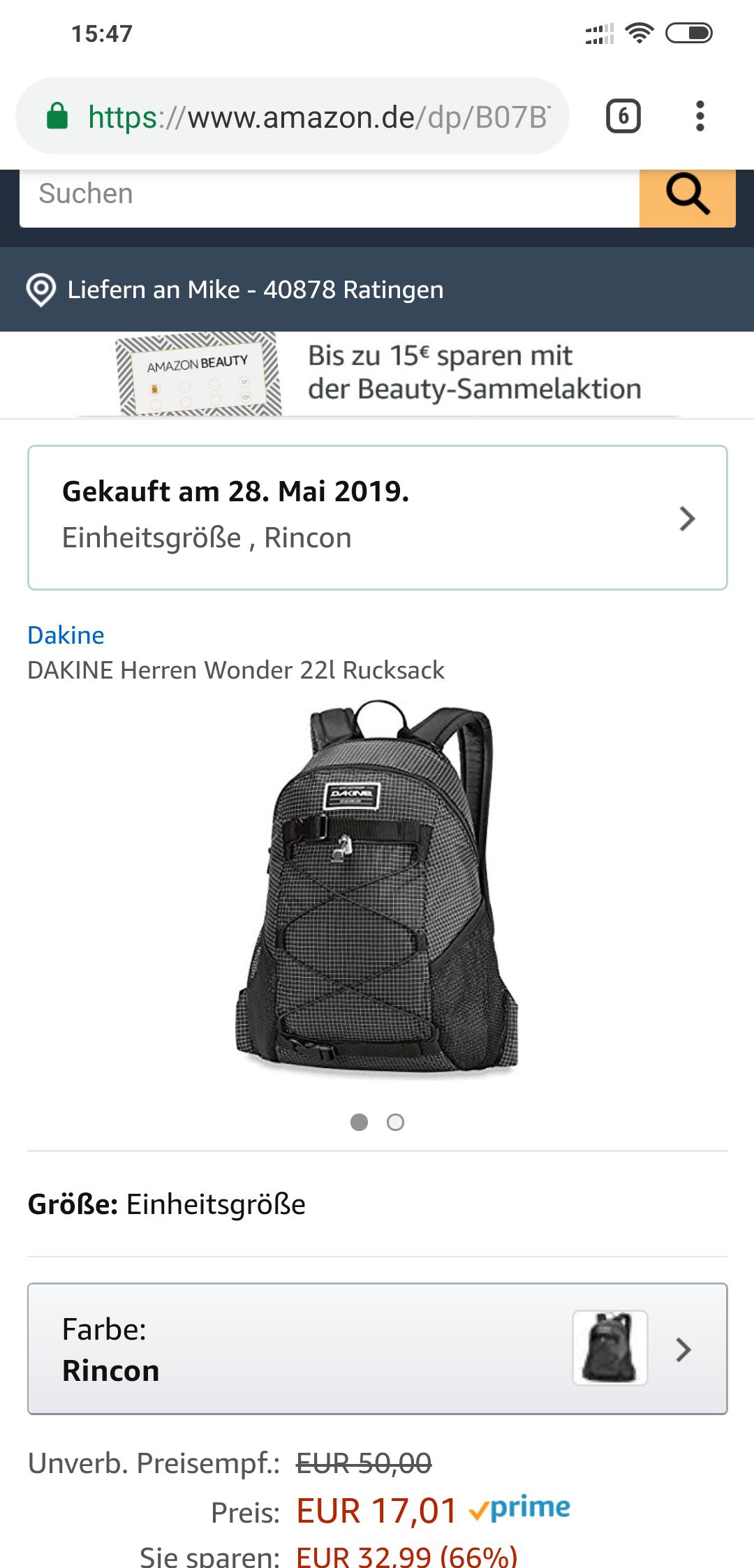 [Amazon Prime] Dakine Herren Rucksack 22 Liter Grau mit Skateboard catcher