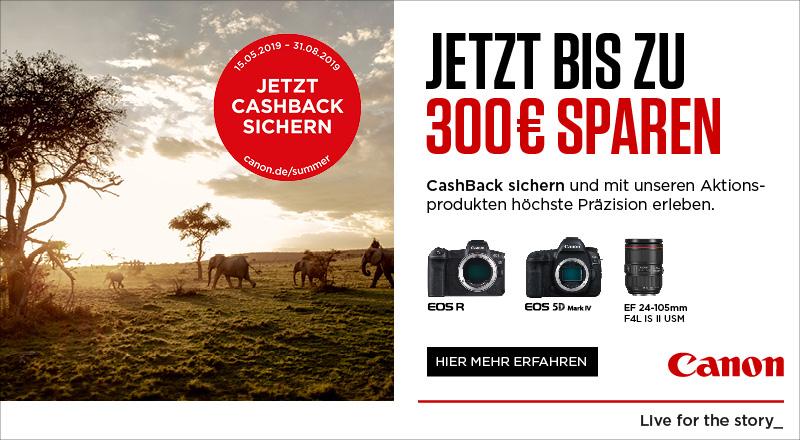 Canon Summer CashBack Aktion - bis zu 300€ sparen