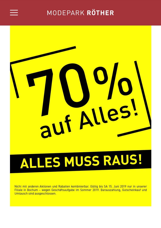 70% auf alles im Modepark Röther Bochum [lokal]