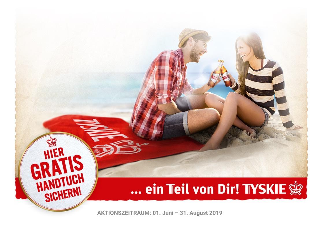 TYSKIE Bier Sommer-Aktion: 2 Kästen kaufen und gratis Handtuch/Badetuch sichern