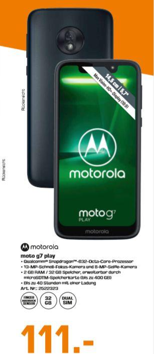 [Regional Saturn Köln] MOTOROLA Moto G7 Play, Smartphone, 32 GB, Deep Indigo, Dual SIM für 111,-€