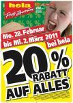 20% Rabatt in allen Globus & Hela Baumärkten (28.2.-2.3.2011)