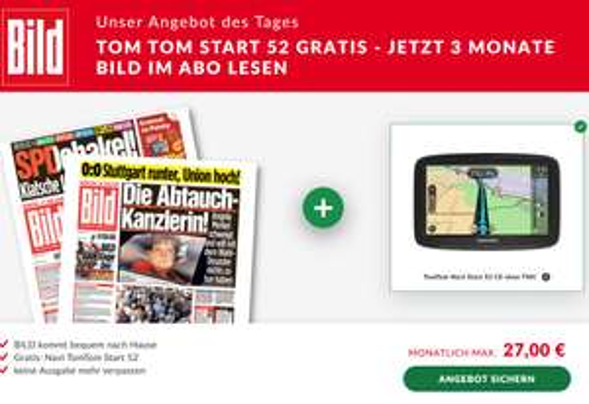 TomTom Navi Start 52 inkl. 3 Monate BILD für 81€ / 78€ / oder 75€ (je Nach Zustellungsgebiet - Kündigung erforderlich)