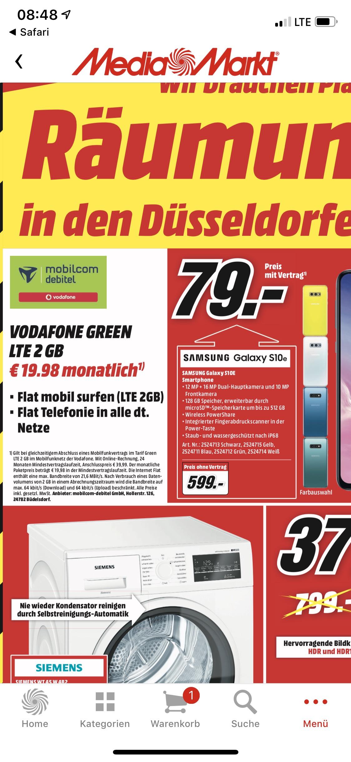 [Lokal MediaMarkt Düsseldorf-Metrostraße] Samsung S10e für 79,- & mobilcom greenLTE 2GB