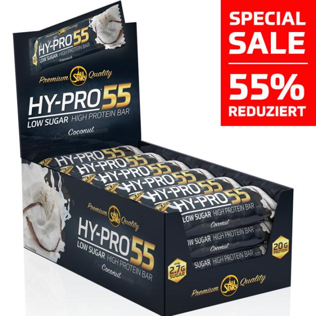 ALL STARS HY-PRO 55 - 24 x Proteinriegel im Geschmack Cocos