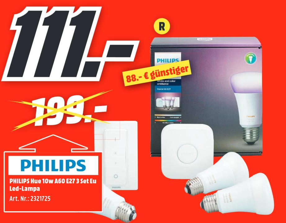 [Lokal: Media Markt Main-Taunus-Zentrum Sulzbach] Philips Hue White and Color Ambiance Starter Kit E27 + Schalter