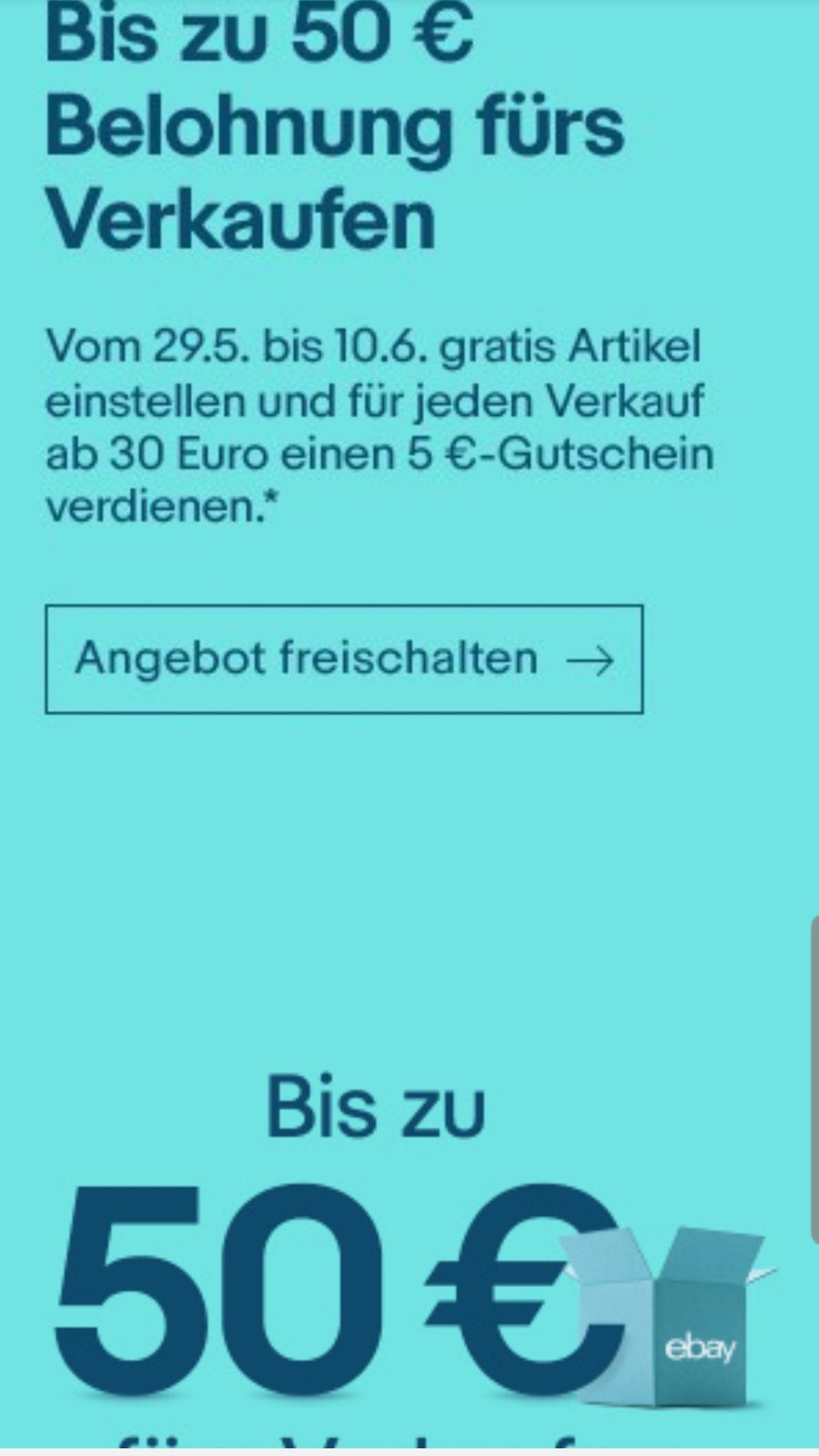 ebay, bis zu 50€ fürs verkaufen, Verkaufsprovision als Gutschein wiederbekommen für eingeladene Mitglieder