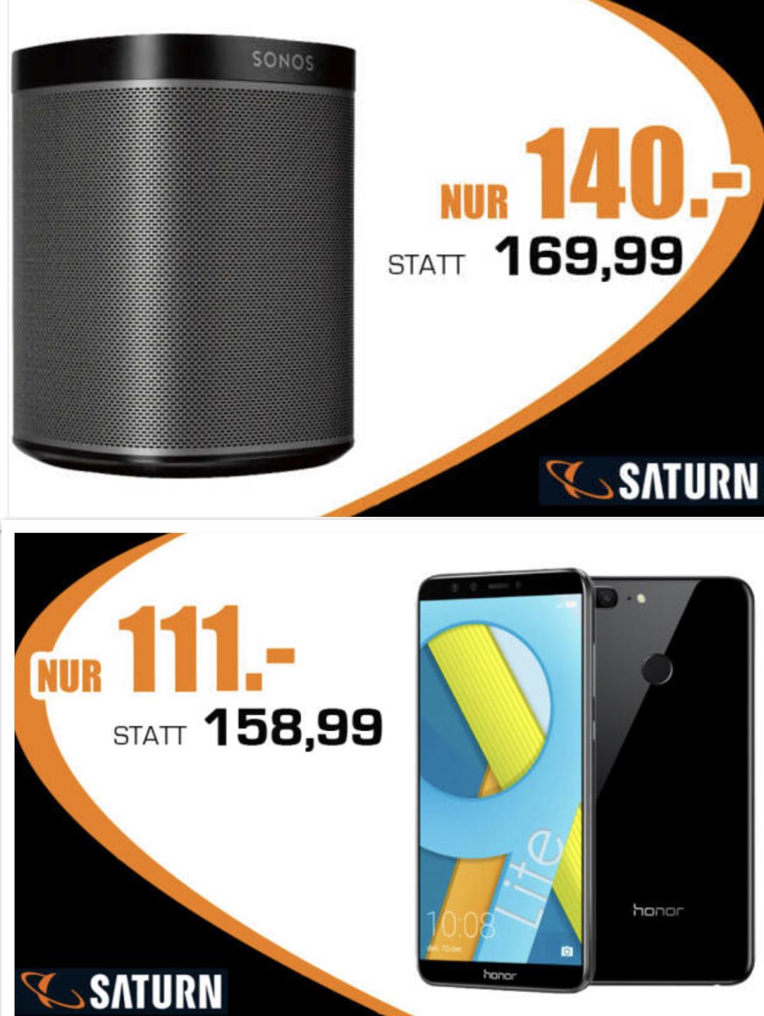 Sonos Play:1 für 140€, HONOR 9 Lite für 111€,  Bose Soundbar 500 für 374€ - Lokal Verkauf von der Rampe bei Saturn Witten