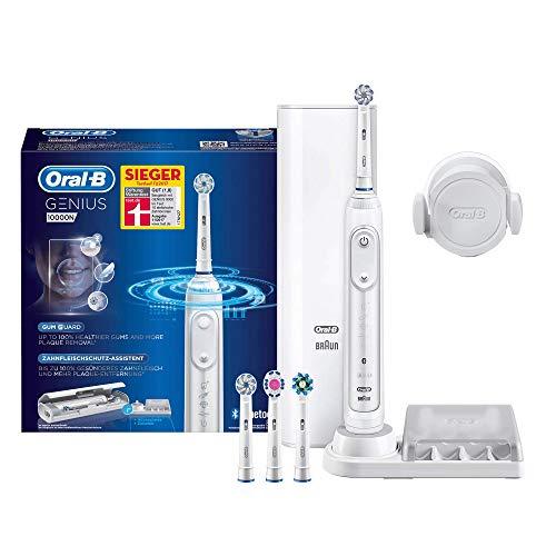 Oral-B Genius 10000N Elektrische Zahnbürste mit Zahnfleischschutz-Assistent und Premium Lade-Reise-Etui, weiß
