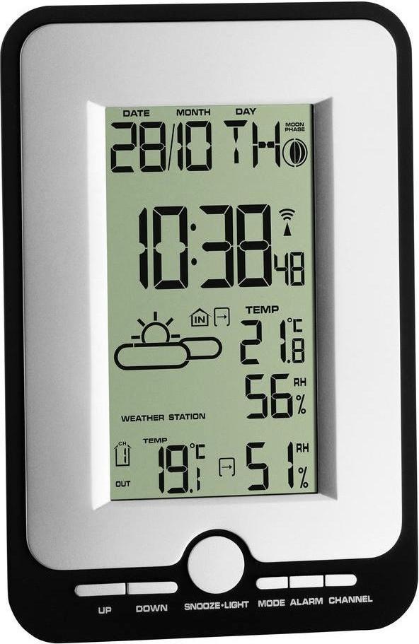TFA Dostmann Multy Funkwetterstation mit Außensensor (bis 80m Reichweite, Temperatur und Luftfeuchtigkeit, Funkuhr, Alarm, Mondphase)