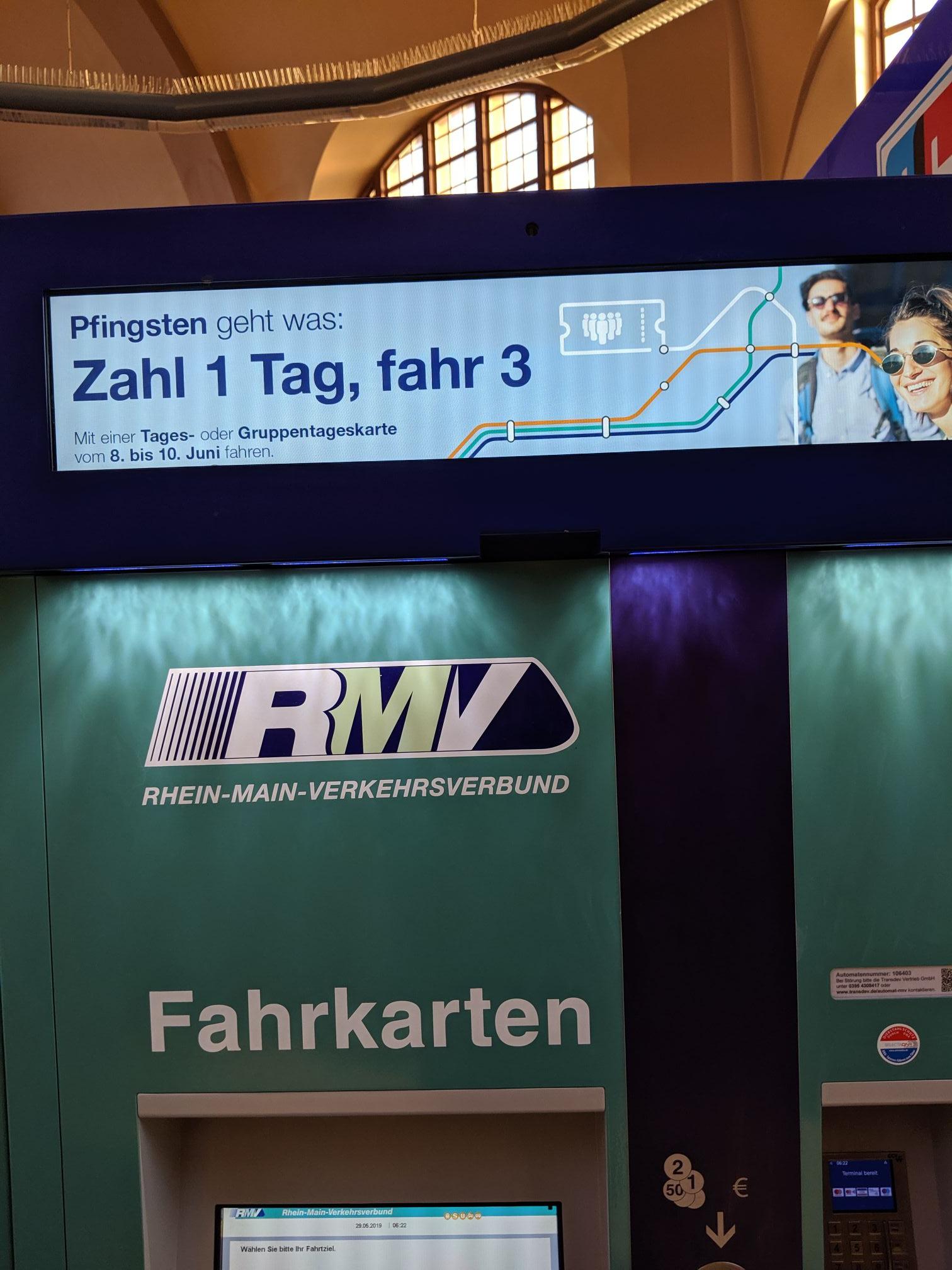 RMV: 1 Tag zahlen 3 Tage fahren über Pfingsten 8.6 bis 10.6