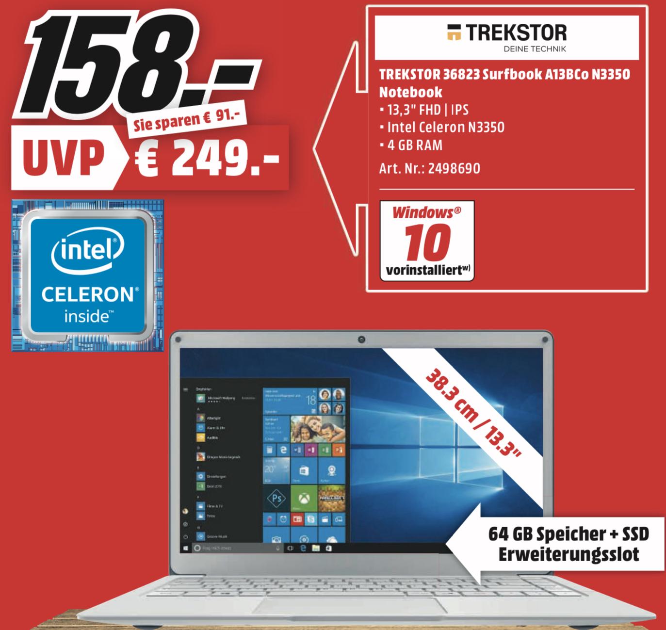 Lokal MediaMarkt Weiterstadt: TREKSTOR Surfbook A13B, Notebook 4 GB RAM, 64 GB eMMC für 158€ oder LG OLED TV 65B87 + 400€ Coupon für 1777€