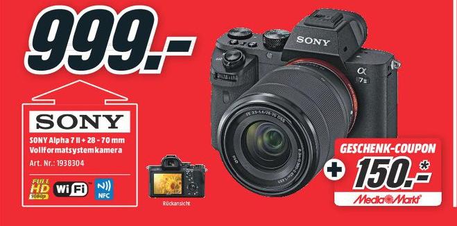 Sony Alpha 7 II Vollformat Digitalkamera Kit 28-70 mm + 150€ Coupon | Bose Solo 5 TV Sound System für 169€ [Mediamarkt]