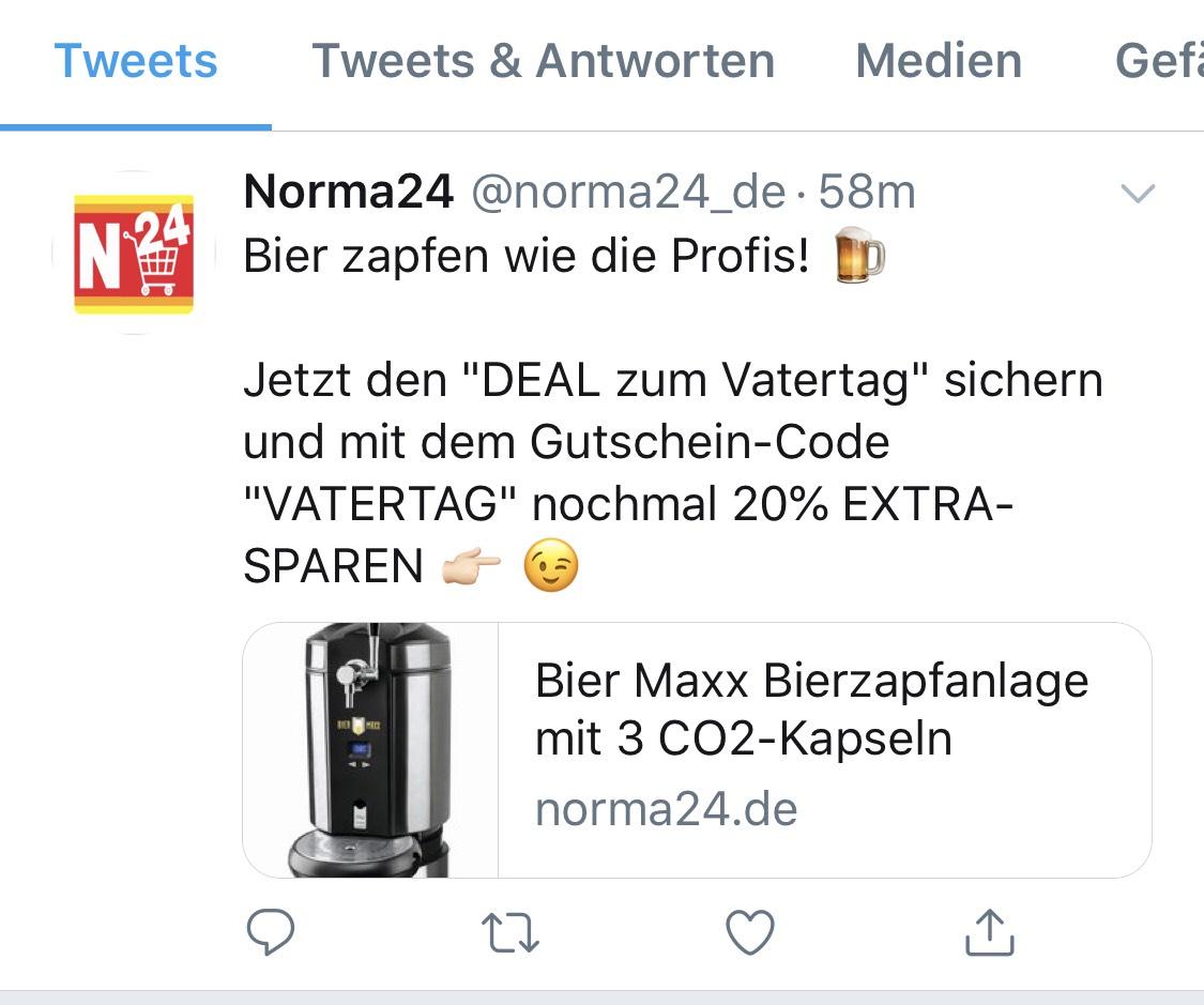 Bier Maxx Bierzapfanlage für 95,20 € statt 119 € [NORMA24]