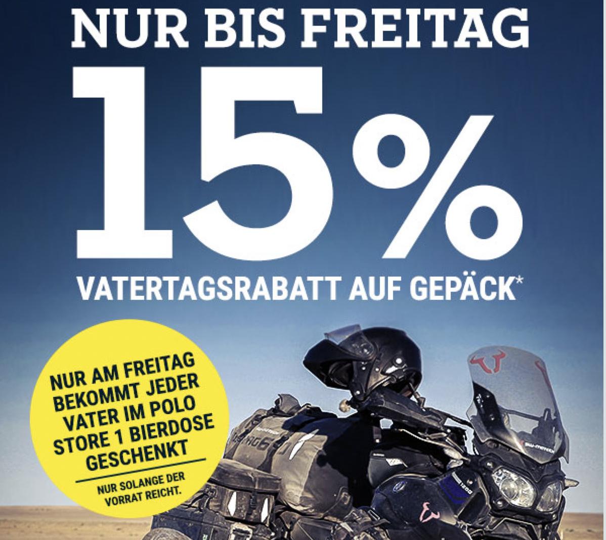 Polo Motorrad: 1 Dose Freibier im Store + 15% Vatertagsrabatt auf Gepäck (offline/online)
