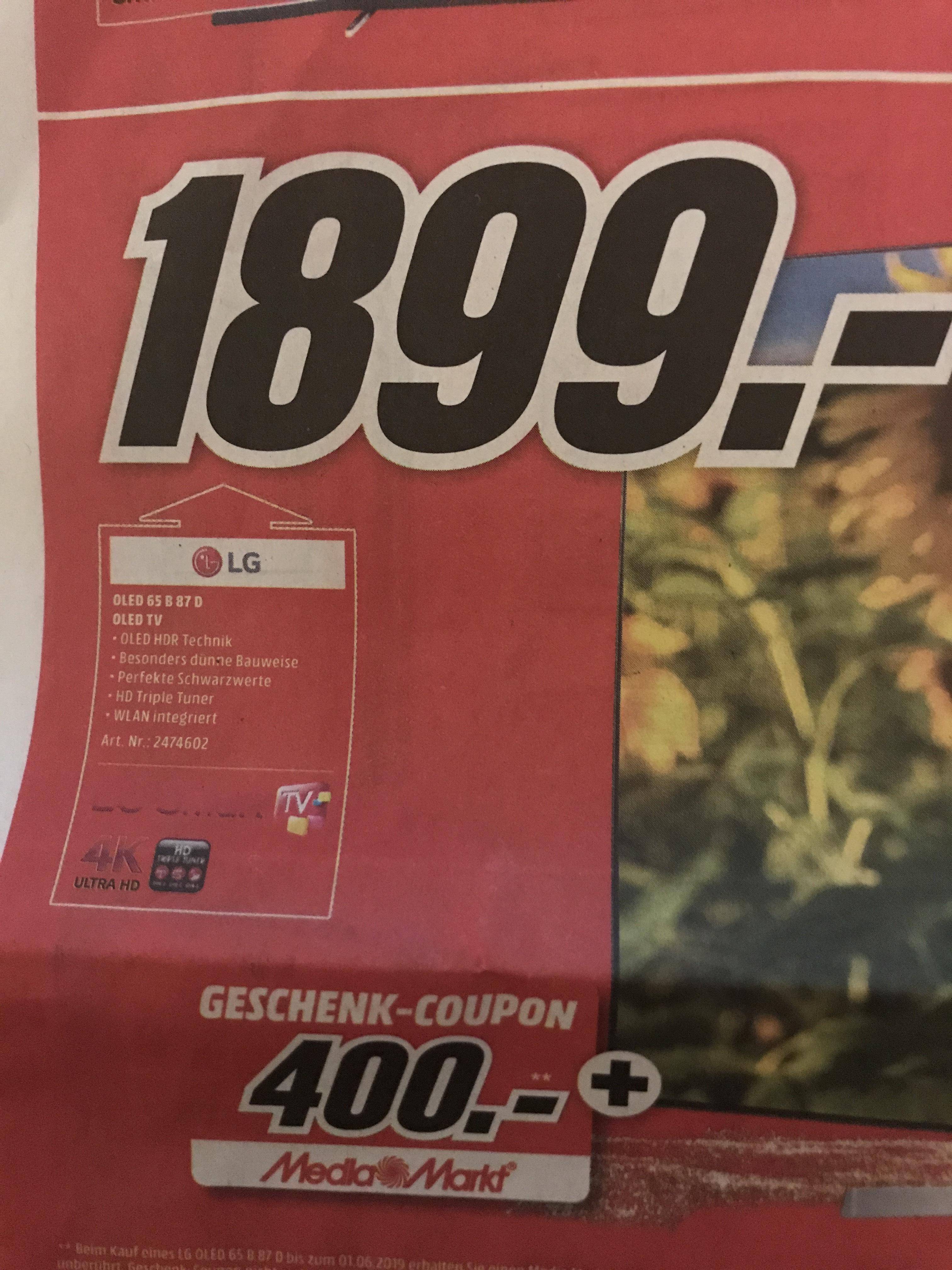[LOKAL] Media Markt Lüneburg LG 65 B87D OLED 1899-400€ Gutschein