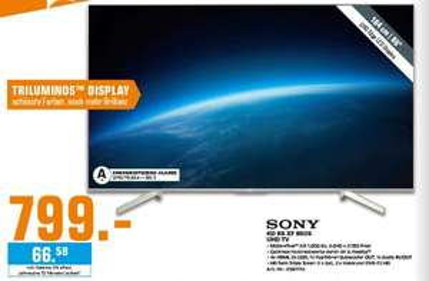 [Regional Saturn Hilden] SONY KD65XF8505 LED TV, 65 Zoll, UHD 4K, Smart TV für 799,-€