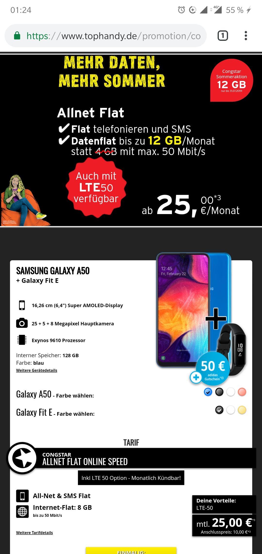 Congstar Allnet-Flat inkl SMS-Flat mit 8 GB LTE für monatl. 25 Euro plus Samsung Galaxy A50 + Samsung Fit E Band + Adidas 50 Euro Gutschein