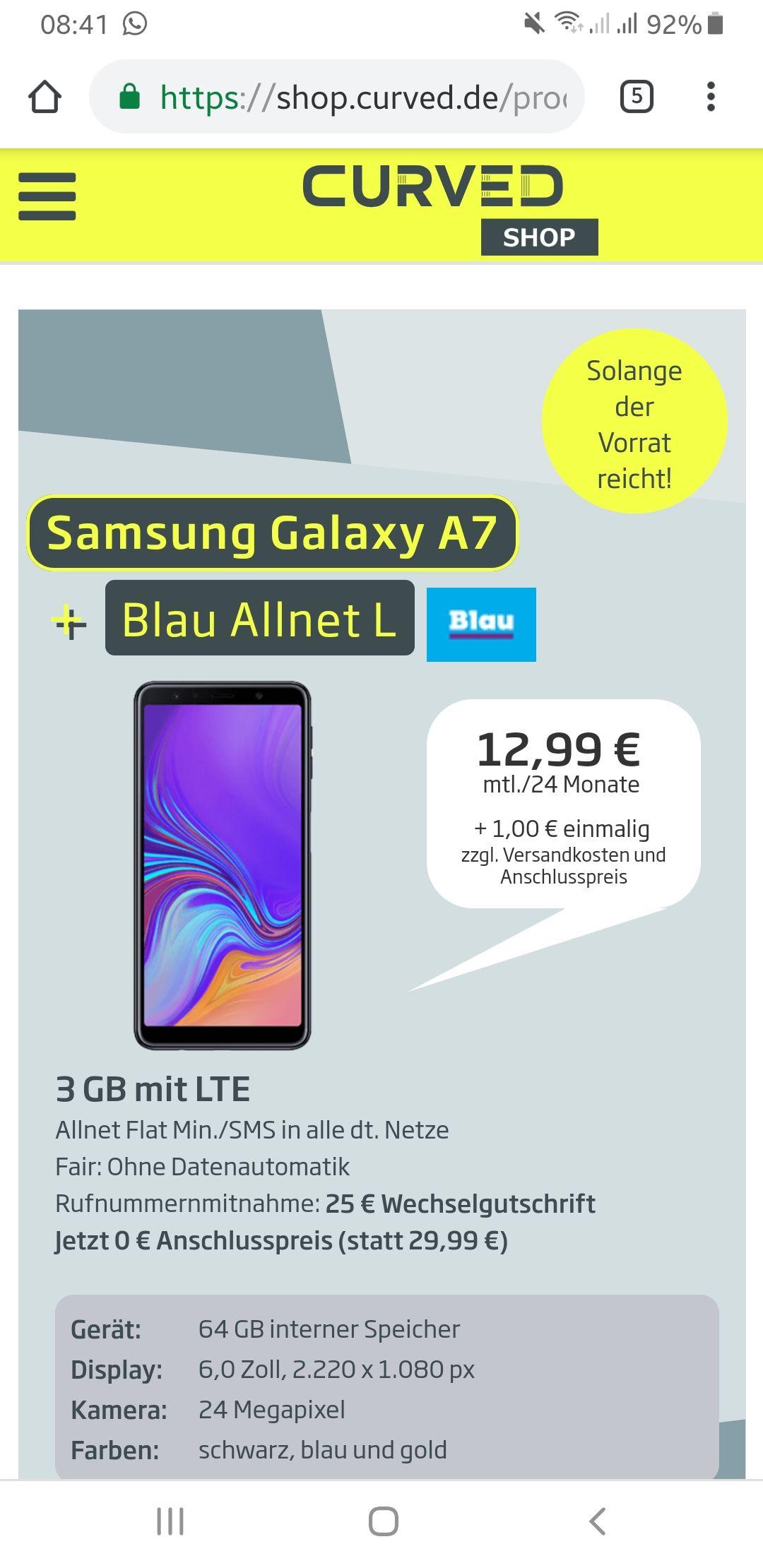 Galaxy A7 mit 3 GB VERTRAG