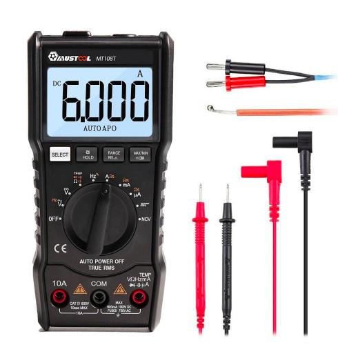 MUSTOOL MT108T digital Multimeter RMS NCV Temperatur-Prüfvorrichtung 6000 Counts LED Anzeige