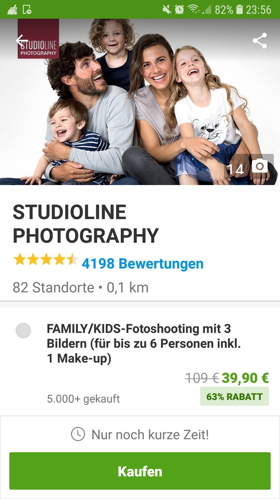 Studioline Family/Kids-Fotoshooting mit 3 Bildern (für bis zu 6 Personen inkl. 1 Make-up)