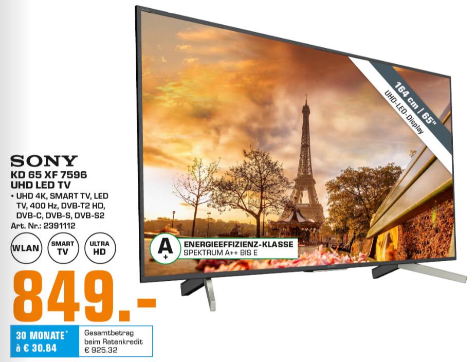 [LOKAL Saturn Kiel] SONY KD-65XF7596, 164 cm (65 Zoll), UHD 4K, SMART TV, LED TV, VA, Direct-lit, 60Hz nativ, 8bit+FRC, HDR10, HLG