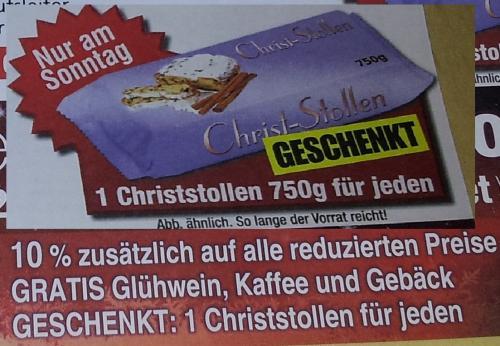 1x Christstollen 750g für jeden GESCHENKT & GRATIS Glühwein,Kaffee und Gebäck bei UNI Polster Gelsenkirchen