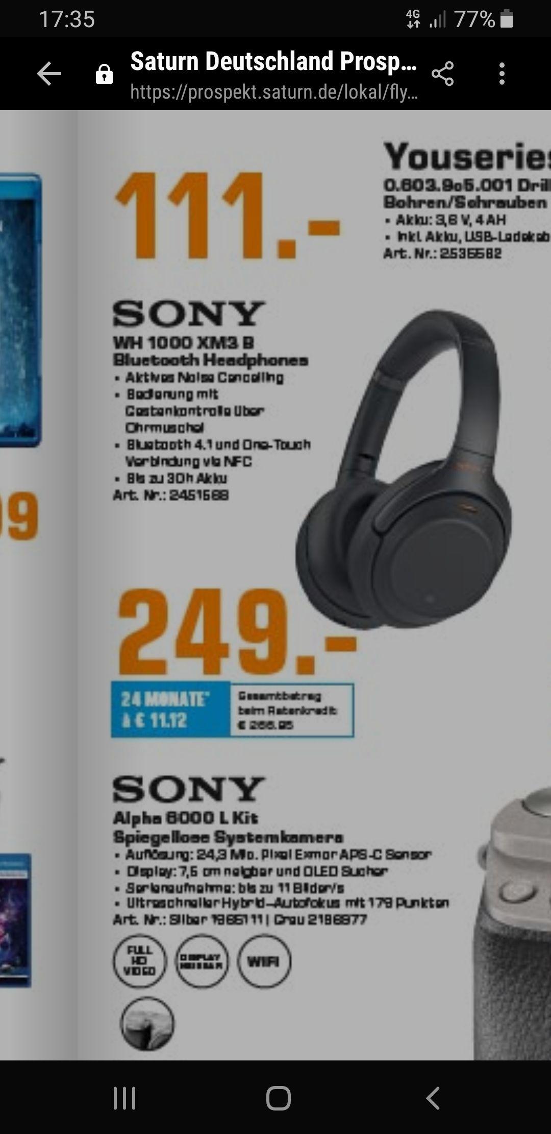[Lokal Saarbrücken] Sony WH-1000XM3 Freitag und Samstag bei SATURN