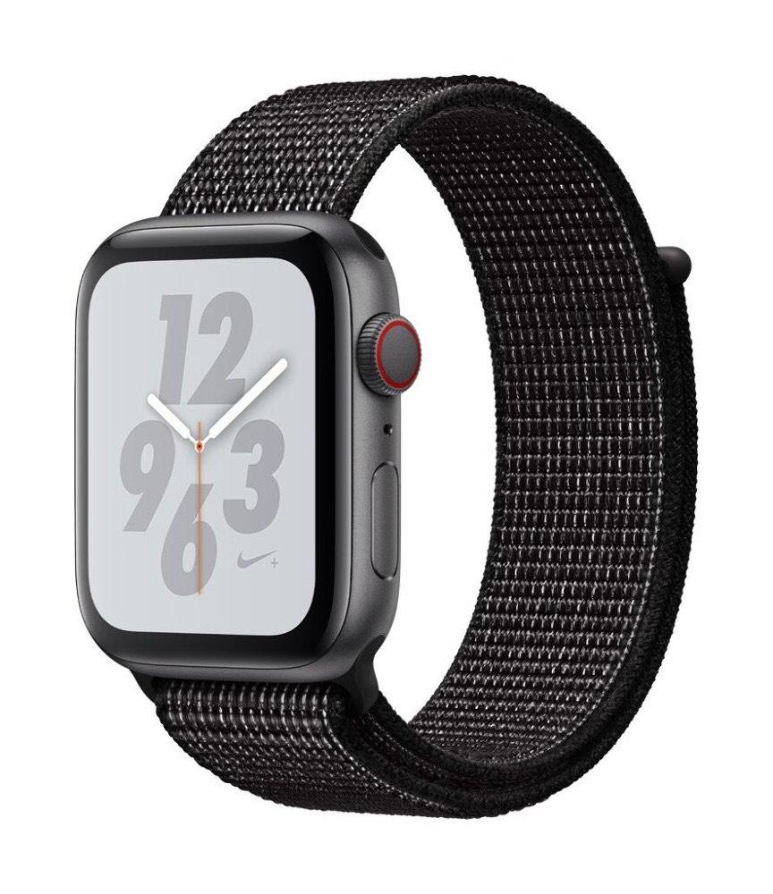 Apple Watch Series 4 Nike+ (GPS + Cellular) Aluminiumgehäuse grau 44mm mit Sport Loop schwarz