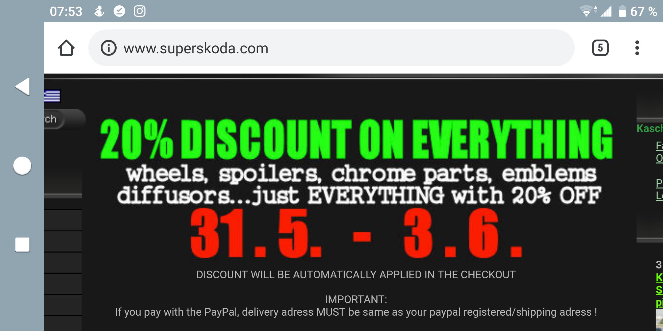 """20% Rabatt auf alles bei """"Superskoda.com"""""""