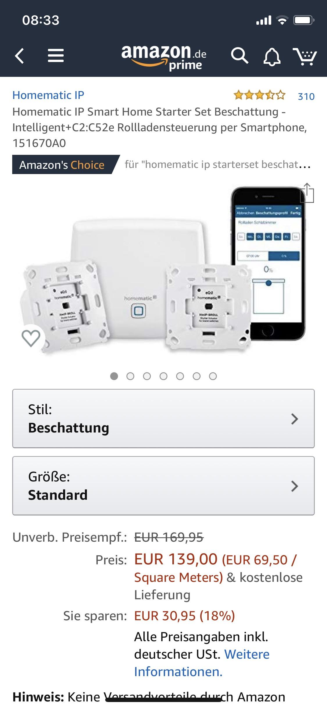 Homematic IP Smart Home Starter Set Beschattung - Intelligent+C2:C52e Rollladensteuerung per Smartphone, 151670A0
