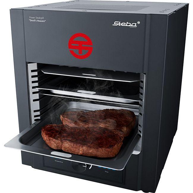 Power Steakgrill PSM 2000 (2000W, keramisches Heizelement, elektronische Temperaturregelung 400 bis 850°C, Display, 9 Einschubebenen)