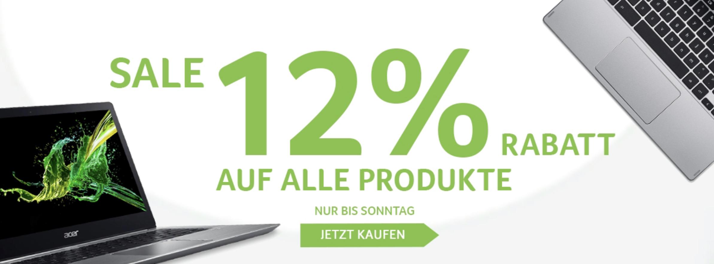 12% Rabatt auf ALLE Produkte im Acer Store + 5% Shoop Cashback + 50€ Shoop Gutschein ab 399€ - nur bis Sonntag!