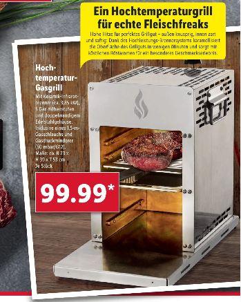 [Lidl ] Hochtemperatur-Gasgrill Beef-Grill mit Keramikbrennelement für Temperaturen um 800 °C für 99,99€ *Auch Online**