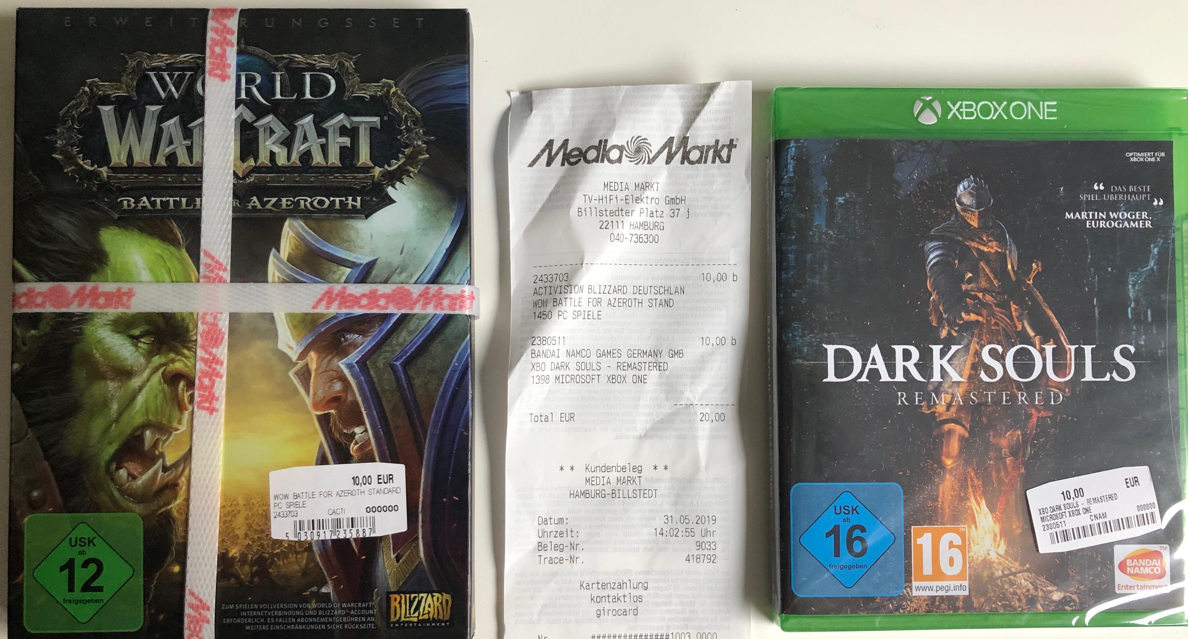Lokal HH-Billstedt MediaMarkt: Battle For Azeroth 10 €  (DarkSouls Remastered Xbox 10 €)