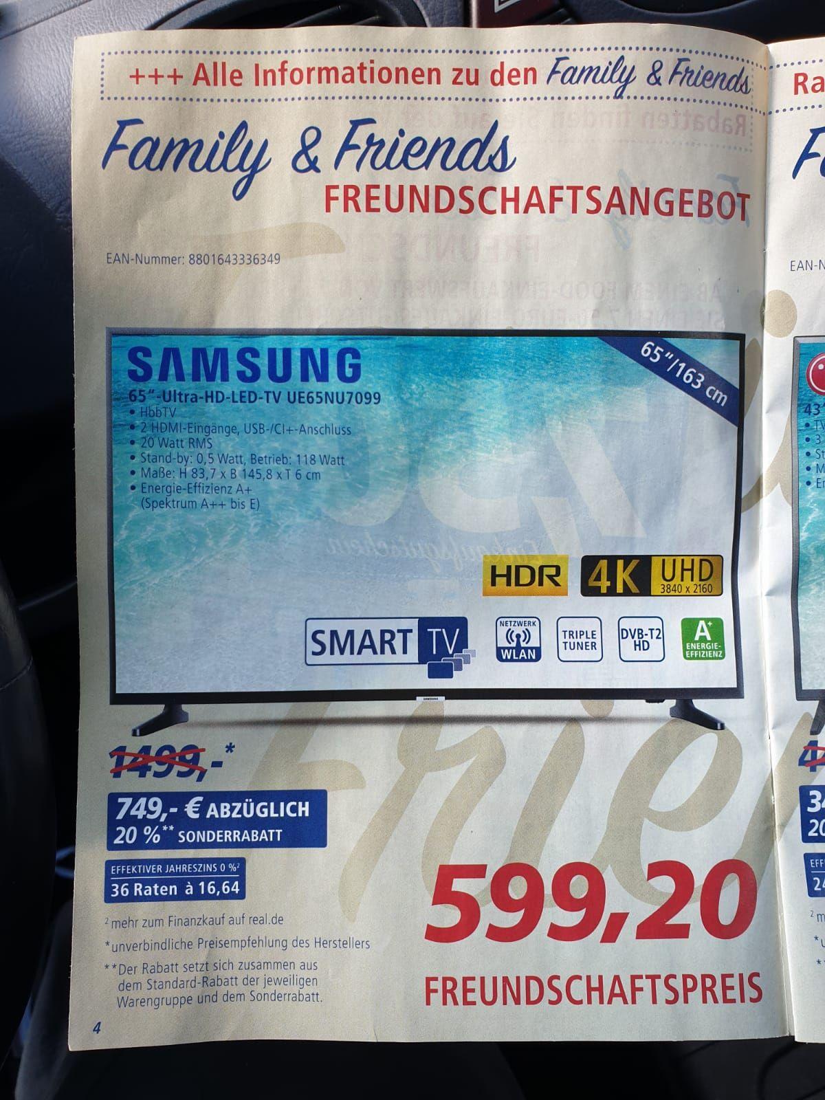 Samsung UE65NU7099 65 Zoll, UHD, LED, HDR, HbbTV, Triple Tuner @Real.de (Lokal?)