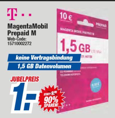 [Regional HEM Expert Filialen ab 05.06] MagentaMobil Prepaid M Karte. inc. 10€ Startguthaben mit 1,5GB Higspeed Datenvolumen für 1,-€