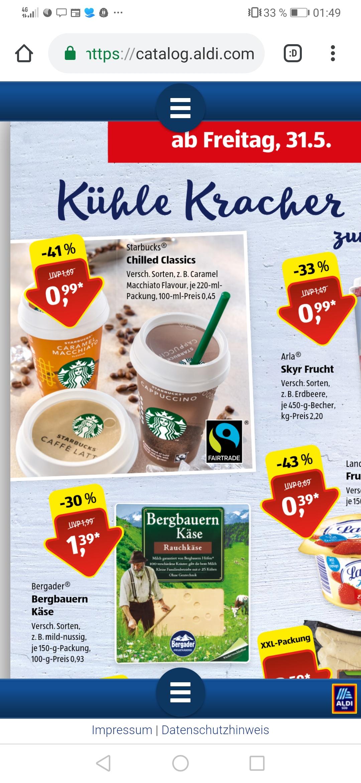[Aldi Süd nur heute] Starbucks chilled Classic für effektiv 0,49€ (Angebot +COUPIES Cashback)