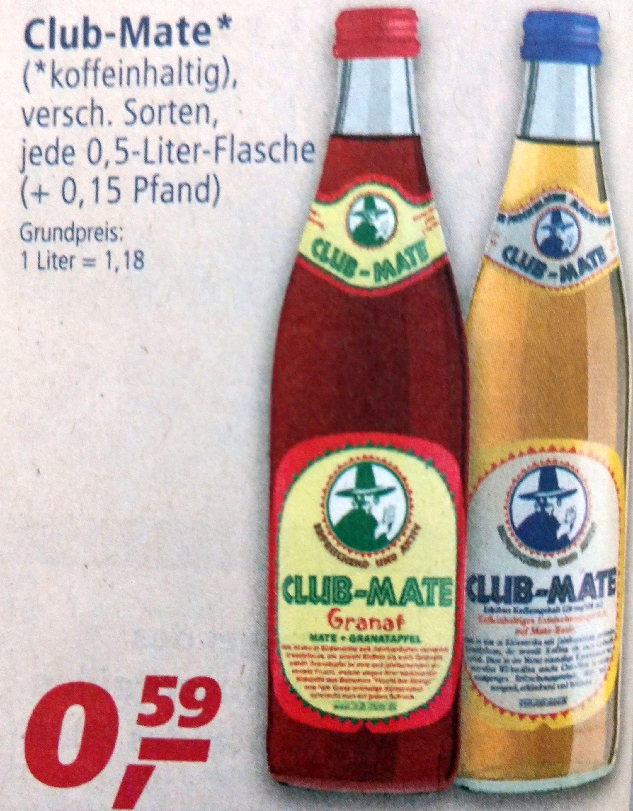 [Berlin] Club-Mate (0.5 Liter-Flasche, verschiedene Sorten) für 59 Cent + Pfand bei real ab Montag, 03.06.