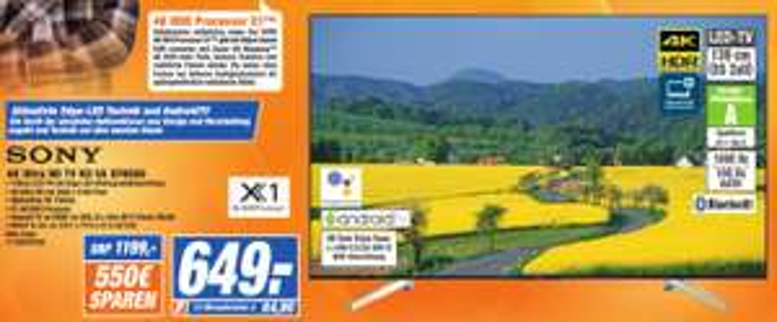 (Lokal) SONY KD-55XF8505 LED TV (Flat, 55 Zoll/139 cm, UHD 4K, SMART TV, Android TV)