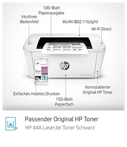 HP LaserJet Pro M15w Laserdrucker (Schwarzweiß Drucker, WLAN, Airprint) weiß