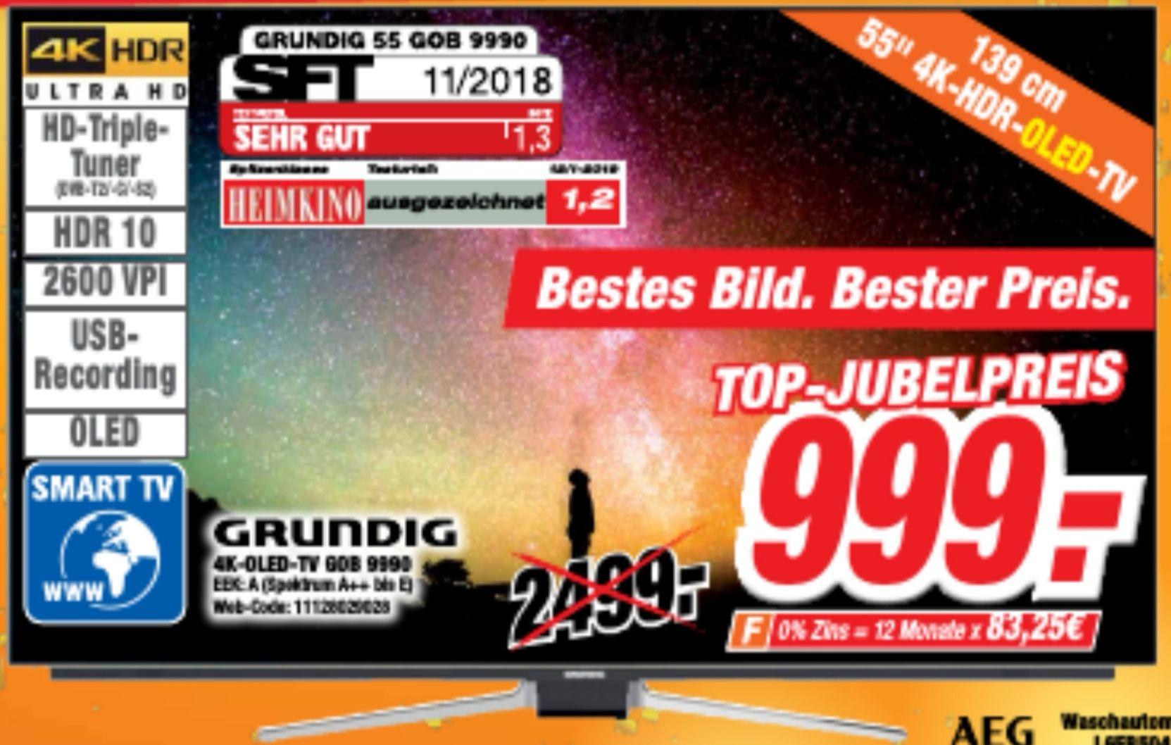 GRUNDIG 55 GOB 9990 FINE ARTS, 139 CM (55 ZOLL), UHD 4K, SMART TV, OLED TV, DVB-T2 HD, DVB-C, DVB-S, DVB-S2
