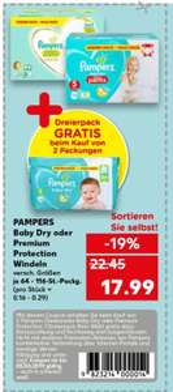 Pampers Baby Dry oder Premium protection 3 für 2 Aktion verschiedene Größen