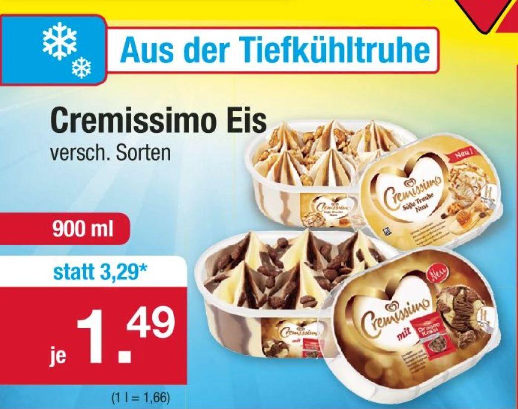 [Zimmermann ab 03.06] Langnese Cremissimo Eisgenuss verschiedene Sorten im 900ml Becher für nur 1,49€