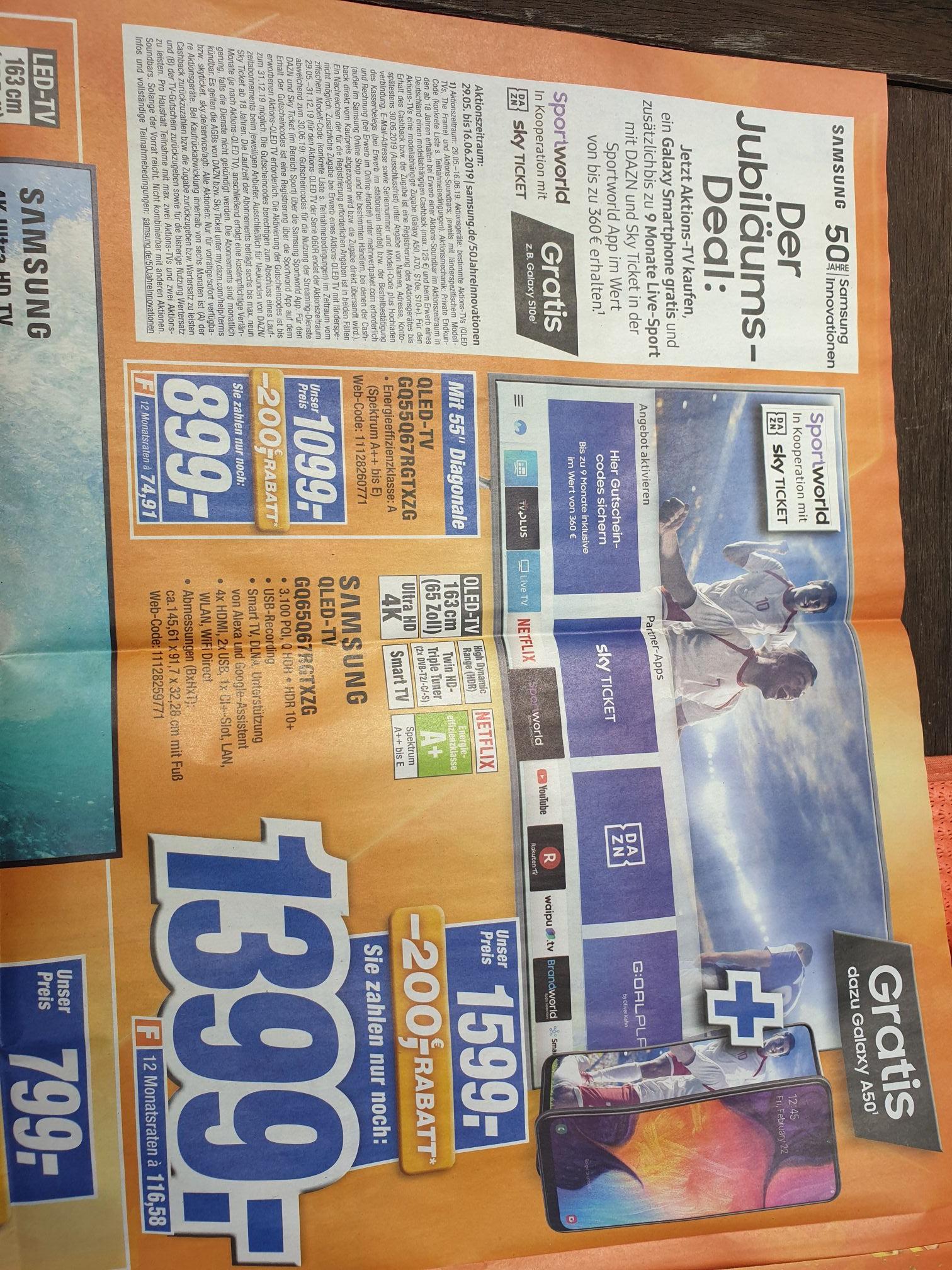 (Lokal) Samsung Qled-TV GQ 65 Q67RGT + Smartphone Galaxy A50 + 9 Monate Live-Sport 1399€, 55 Zoll 899€