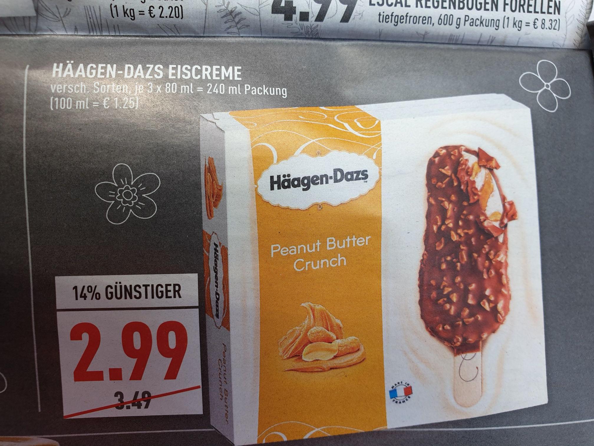 Marktkauf (evtl. lokal) Häagen-Dazs Eiscreme  am Stiel  3 St. für 2,99€