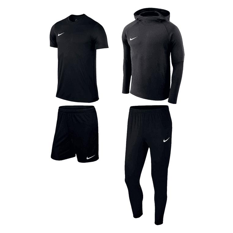 Nike Trainingsset Premium 4-teilig schwarz mit T-Shirt, Shorts, Hoodie und Hose in diversen Farben